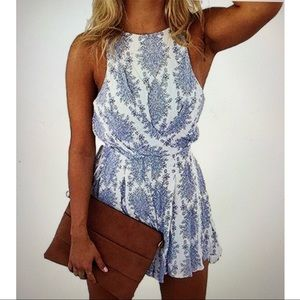 Other - Woman's romper size small blue and white